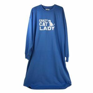 Crazy Cat Lady Long Sweatshirt Pyjama Sleepwear Blue XL Fleece Lounger